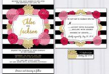 Bold stripe wedding / Bold black and white stripe wedding hydrangeas