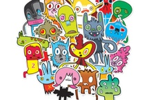 """Artist Jon Burgerman / Characters by Burgerman for Year 9 """"Issue Bods"""""""