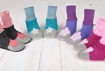 Puschen aus Walk/Wollfilz für alle Größen / Puschen nach eigenem Schnittmuster für alle Größen. Mit Ledersohle, geeignet für alle Jahreszeiten.