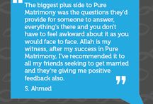Success stories and PM couples / Here you will find Testimonials and success stories from users who have found their spouse on www.purematrimony.com or have had a life-changing experience from Pure Matrimony webinars , ebooks and other useful resources .