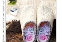 Crochet slippers & wooden cloggs