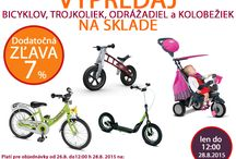 Výpredaj bicyklov, trojkoliek odážadiel a doplnkov na sklade - dodatočná zľava 7% / Výpredaj bicyklov, trojkoliek odážadiel a doplnkov na sklade - dodatočná zľava 7% http://www.market24.sk/bicykle-trojkolky-odrazadla/ Platí pre objednávky od 28.8. do 12:00h 28.8.2015. Pre zíslanie dodatočnej zľavy do poznámky v objednávke zadajte kód: KOLO