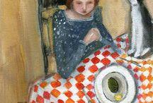 Painting vrou en kat
