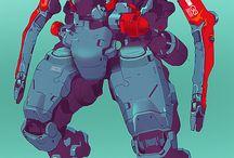 Mecha / Robot illustrations / Concept and finalized art for various mech / mecha / robots feat Gundam, Linebarrel, FFS, etc