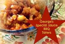 "Sides ~ George's BBQ Sauce / Enjoy our tasty sauces as side dishes at mealtime, tailgates and good-times eat'n events!  A few of the ""usuals"" but we love crawling ""outside the bottle"" with our recipes too!"