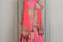 pink and coral lehengas