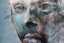 Portrait, mixed media | colour on canvas | Rainier Boidin / Portraits, oil, acrylic & mixed media on canvas. Art by Rainier Boidin