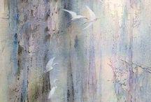 background flying birds