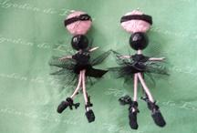 Bailarinas broche colgante de Ónixs Algodón de Luna