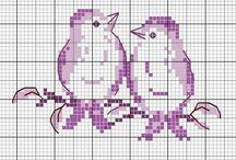 Haft krzyżykowy - Ptaki