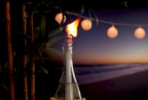 Wine bottle citronella torches