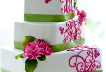 Scroll pattern wedding cakes