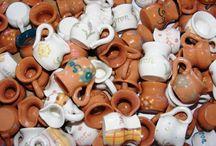 Aprócska, mini köcsögök 2013. / Kézo korongozással készült mini , füles edénykék.
