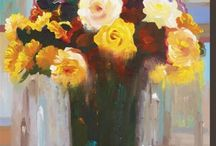 "Hooshang's Florals / ""I often arrange flowers in my studio, which become a source of inspiration for my work. The bouquets feature a selection of rich, deeply colored flowers that are arranged to both complement and set off one another. The background's blocks of color add depth and perspective to the work as well. I try to find the energy and inner life within my subjects without fully revealing them, seeking to unveil the mysteries and the beauties of the world around me."""