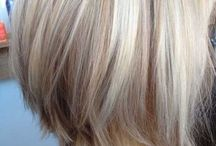 Silver blonde with caramel lowlights