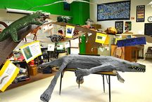 Seventh-Grade Tree of Life / Students in Mr. Peknik's and Mr. Anderson's seventh-grade science classes created a floating tree of evolutionary life. Students created models of 150 prehistoric animals.
