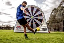 Soccer Darts / Melbourne's first inflatable Soccer Dart Boards are available for hire! Combining two fantastic games they are the perfect centerpiece for your next event!