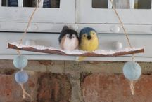 Birds on a branch Christmas ornaments