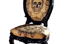 French chair's and... / Antique French chairs with skull design fabric