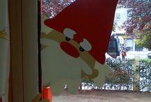 kerstman op raam