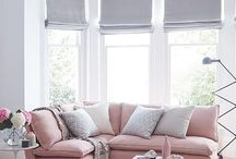 интерьер серо-розовый