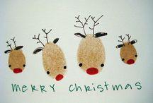 Kerst kaart vingerafdruk