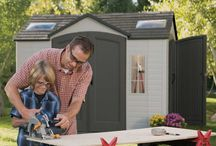 Lifetime Storage Sheds / The 10-foot wide Garden Buildings from Lifetime Products give you that extra space needed while accenting the beauty of your backyard. The centralized location of the doors provides easy storage access and the decorative shutters, molded wood-grain panels, and simulated shingled roof ensure an attractive design that will be the envy of your neighborhood.