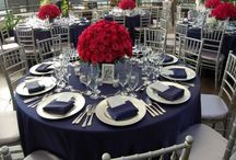 wedding navy blue red gold