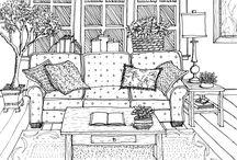 Interior Line Drawings