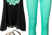 Super cute turquoise base outfit! / In this outfit, I've considered from head to toe as to what the perfect match would be for the black shirt and mint skinnies. I believe those two articles would go great with the shoes especially. the more turquoise, the better! adding the necklace and earrings. Perfection. To top it all off with the black clutch... simply amazing. You can't forget about the nails!! Important. This is a great outfit for any occasion