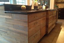 Reclaimed wood kitchen island and entertainment center
