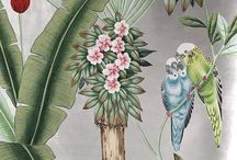 Chinoiserie Handpainting on Silver gided silk