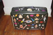Collaged   Altered Art Vintage Suitcase Upcycled /   Collaged   vintage  suitcase  with rare and  vintage  stickers  created by Katie Pfeiffer  available on Etsy