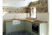 Painted Shaker In Frame Kitchen / Designed in conjunction with our customer's own specific design ideas in the the in-framed Shaker style this kitchen is part of a rural barn conversion in St. Davids, West Wales. The challenge was to create a functional and attractive kitchen area and also make the best of existing original features within the room.