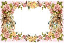 frame with flower vintage