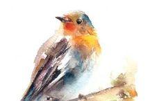 Pájaros a la acuarela