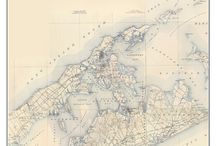"""Long Island Old Topographical Maps New York / These are old composite maps of Long Island New York custom made out of one or more USGS """"quads"""". We add a border and a title to make the maps more attractive. These are available from our website in different sizes and prices. We emphasize common frame sizes but they can be customized as the buyer desires--e-mail us if you don't see what you want!"""