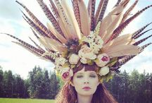 floral hats, crowns and rings