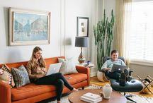 living room ideas orange grey