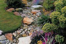 skalka a skalničky / zahrada , kvetoucí trvalky ,svahy osázené rostlinami