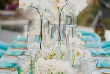Aqua Palette's wedding decor / The aqua palette, the beachy details and the Phaleonopsis flower arrangements (Amy's favorite!) were the perfect combination for a great Destination Wedding!  Jeanette & Lamar are one of Amy Abbott Events' most precious and gracious long term clients and we were all thrilled to be part of their wedding day! Pictures: Photo by Julieta | Flowers: Pina Hernandez | Location: Private Villa in Cabo