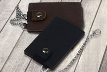 men Bifold Card Holder Crazy Horse With Chain