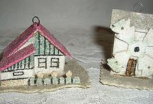 VINTAGE CZECH CHRISTMAS ORNAMENTS-CHALET' & WINDMILL-SO DARLING