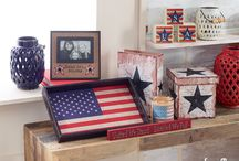Red, White & Blue: Home / Add some patriotic flair to every room in your home! Our red, white and blue Americana accents are the perfect decorative touch! http://bit.ly/1LclJdO
