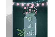 Pink and blue Cosmos floral chalkboard Wedding Set