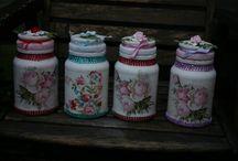 """costum made """"vintage"""" jars and bottles / jars and bottles I make in """"vintage""""style"""