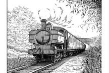 Train Drawings and Paintings