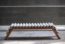Grana Bench / Walnut with gray linen or leather fabric. 45 cm (H) x 37 cm (W) 188 cm (L)