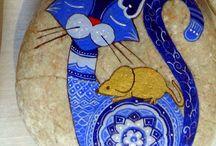 Cats-folk art rocks