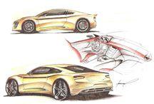 sketch car  / le novazioni e le concept create da fantasia seguendo la moda del futuro e del design storia/futuro